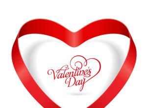 Heart Ribbon Valentines Day Vector Illustration